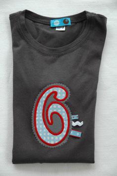 Geburtstags- Shirt 6 dunkelgrau
