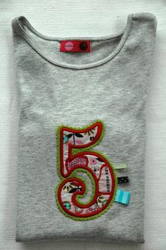 Geburtstags- Shirt 5 hellgrau
