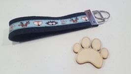"""Schlüsselanhänger """"Webband dunkelblau mit einem Igel, Hase, Fuchs und Hund auf dunkelblauem Filz"""""""