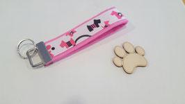 """Schlüsselanhänger """"Webband Rosa mit kleinen schwarz pinken Terriern"""""""