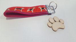 """Schlüsselanhänger """"Webband rote Beagle auf pinkem Filz"""""""