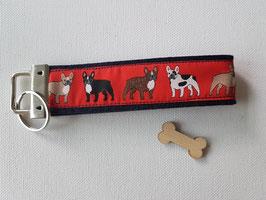 """Schlüsselanhänger """"rotes Webband Französische Bulldogge auf dunkelblauem Webband"""""""