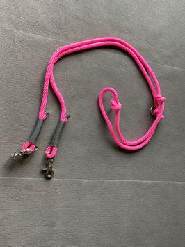 Hundeleine pink mit grauer Takelung - 2,30 Meter