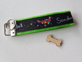 """Schlüsselanhänger """"Webband schwarz Sondermodell auf grünem Filz"""""""
