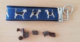 "Schlüsselanhänger ""Beagle dunkelblau auf dunkelblauem Filz"""