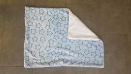 """Hundedecke """"hellblau mit blauen Sternen-Rückseite mit weißen Fleece""""75x56cm"""