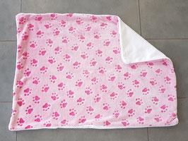 """Hundedecke (rosa mit pinken Pfoten - Rückseite weiß"""" (55 x 76 cm)"""