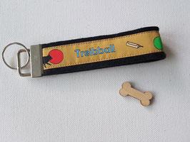 Schlüsselanhänger (Treibball Webband auf schwarzem Filz)