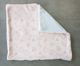 """Hundedecke """"rosa mit altrosa Knochen und Pfoten - Rückseite hellblau"""" (60 x 65 cm)"""