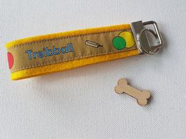 Schlüsselanhänger (Treibball Webband auf gelbem Filz)
