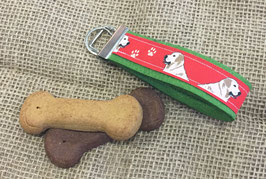 "Schlüsselanhänger ""Labrador rot"" auf grünem Filz"