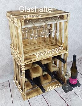 Glashalter mit Weinregal (geflammte Optik)