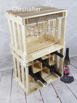 Glashalter mit Weinregal (Naturbelassen)