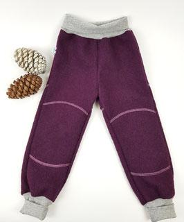 Wollwalk Outdoorhose | Aubergine mit grau