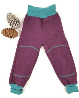 Wollwalk Outdoorhose | Aubergine mit türkis