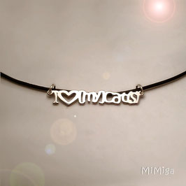 Necklace 'I love [my] cat(s)'