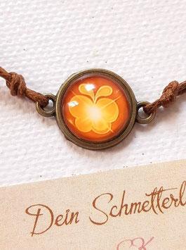 Armbändchen, Schmetterling Gold auf Braun, braunes oder weißes Baumwollband