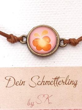 Armbändchen, Schmetterling Braun auf Rosa, braunes oder weißes Baumwollband