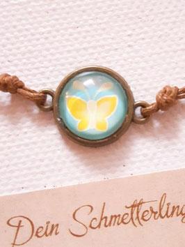 Armbändchen, Schmetterling Gelb auf Türkis, braunes oder weißes Baumwollband