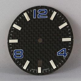 Carbon Zifferblatt Ø 30.80 mm für ETA 2824-2 BLAU / carbon watch dial for ETA 2824-2