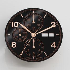 Set: 34.8mm Zifferblatt mit Zeigern für ETA 7750 Schwarz  rosé-gold  / set: dial 34.8 mm with hands for ETA 7750