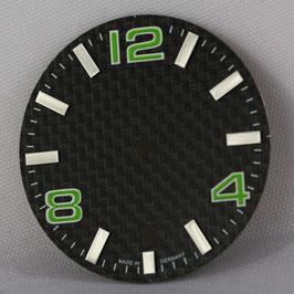 Carbon Zifferblatt Ø 30.80 mm für ETA 2824-2 GRÜN / carbon watch dial for ETA 2824-2