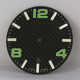 Carbon Zifferblatt Ø 34.80 mm für ETA 2824-2 GRÜN / carbon watch dial for ETA 2824-2