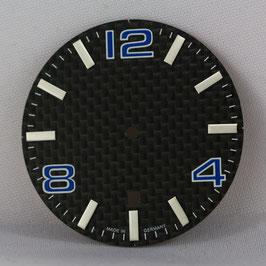 Carbon Zifferblatt Ø 34.80 mm für ETA 2824-2 BLAU / carbon watch dial for ETA 2824-2