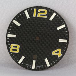 Carbon Zifferblatt Ø 34.80 mm für ETA 2824-2 GELB / carbon watch dial for ETA 2824-2