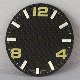 Carbon Zifferblatt Ø 30.80 mm für ETA 2824-2 GELB / carbon watch dial for ETA 2824-2