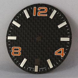 Carbon Zifferblatt Ø 30.80 mm für ETA 2824-2 ORANGE / carbon watch dial for ETA 2824-2