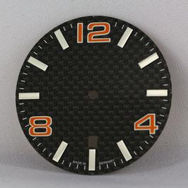 Carbon Zifferblatt Ø 34.80 mm für ETA 2824-2 ORANGE / carbon watch dial for ETA 2824-2