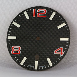 Carbon Zifferblatt Ø 34.80 mm für ETA 2824-2 ROT / carbon watch dial for ETA 2824-2
