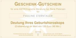 Geschenk-Gutschein für eine ASTROlogische Beratung zum Geburtshoroskop (Erstberatung) im Wert von 120,- EUR (90 Min.)