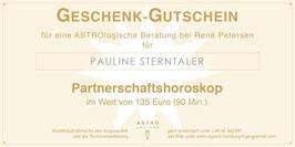 Geschenk-Gutschein für eine ASTROlogische Beratung zum Partnerschaftshoroskop im Wert von 135,- EUR (90 Min.)