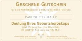 Geschenk-Gutschein für eine ASTROlogische Beratung zum Geburtshoroskop (inkl. Vorausschau oder Rückblick) im Wert von 140,- EUR (120 Min.)