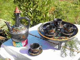 Service à café d'Ethiopie fabriqué à la main en Ethiopie, en terre cuite