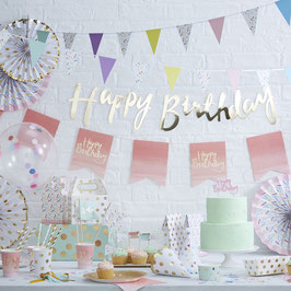 Guirlande dorée happy birthday