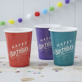 Mixed Paper Cups - Happy Birthday Kraft