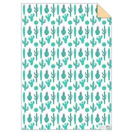 1 feuille de papier cadeau cactus