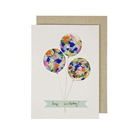 carte d'anniversaire ballons confettis