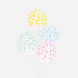 5 ballons latex imprimés confettis pastel