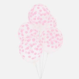 5 ballons latex confettis roses