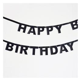 Guirlande Happy Birthday glitter noire