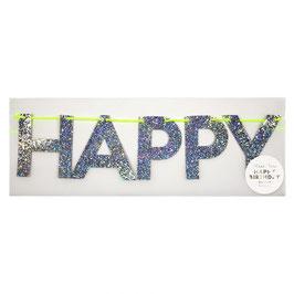 GUIRLANDE LETTRE ARGENTEE HAPPY BIRTHDAY