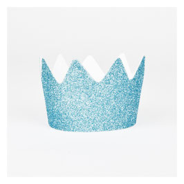 8 couronnes glitter bleues