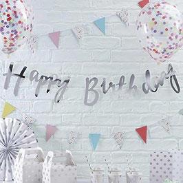 Guirlande argéntée happy birthday