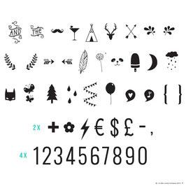 Set de symboles pour lightbox : Nombres et symboles
