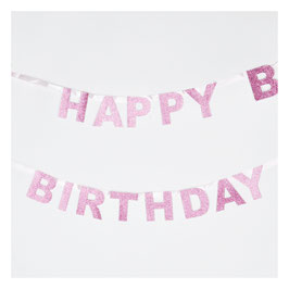 Guirlande Happy Birthday glitter rose