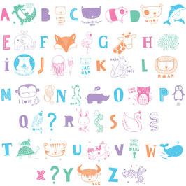 Set de lettres pour Lightbox ABC pastel